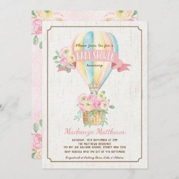 Chic Hot Air Balloon Pink Floral Girl Baby Shower