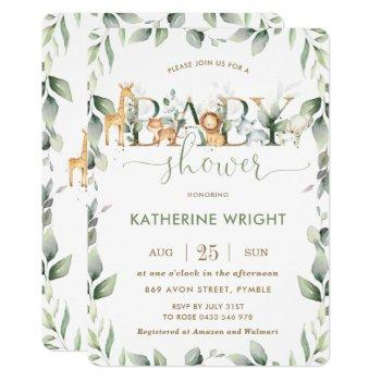 Chic Jungle Animals Greenery Baby Shower Boy Girl Invitation