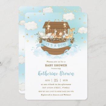 Chic Noah's Ark Cute Animals Boy Baby Shower  Invi Invitation