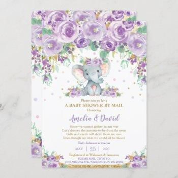 Chic Purple Floral Elephant Baby Shower By Mail Invitation