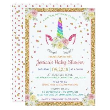 Chic Rainbow Glitter Unicorn Baby Shower Invitation