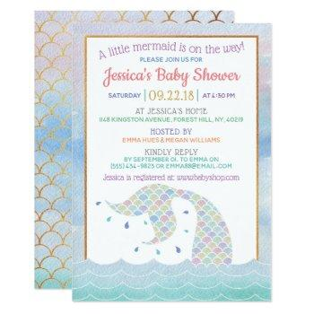 Chic Rainbow Watercolor Mermaid Baby Shower Invitation