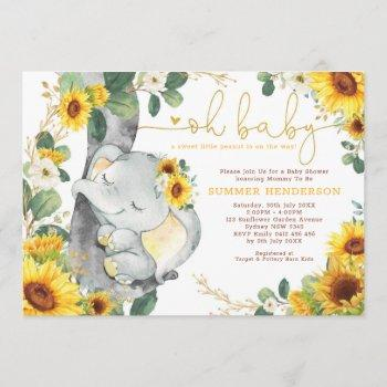 Chic Sunflower Elephant Summer Garden Baby Shower Invitation