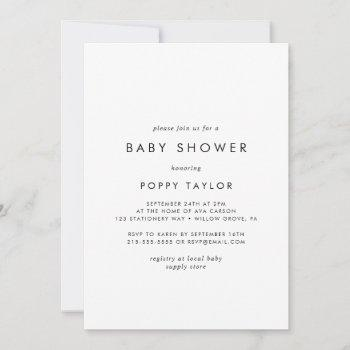 Chic Typography Baby Shower Invitation