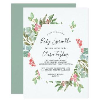 Christmas Greenery & Red Berry Baby Sprinkle Invitation