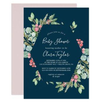 Christmas Greenery & Red Berry | Navy Baby Shower Invitation