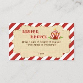 Circus Baby Shower Diaper Raffle Tickets Enclosure Card