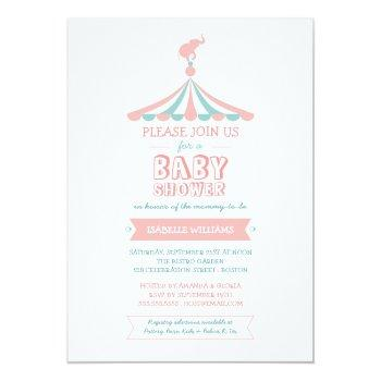 Circus Carnival Pink Teal Baby Shower Invitation