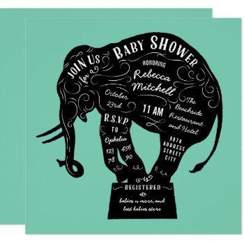 Circus Elephant Mint Green Baby Shower Invitation