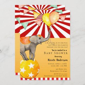 Circus Elephant On Ball Carnival Baby Shower Party