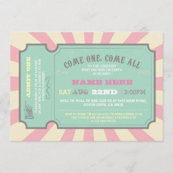 Circus Ticket Pink Baby Shower