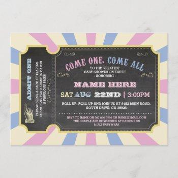 Circus Ticket Pink Blue Ticket Baby Shower Invite