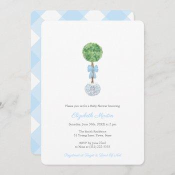 Classic Topiary Ball With Bow Boy Baby Shower Invitation