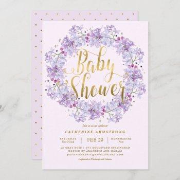 Classy Light Purple Gold Floral Wreath Baby Shower Invitation