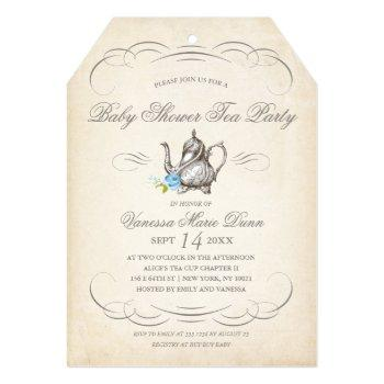 Classy Vintage Tea Party Blue | Baby Shower Invitation