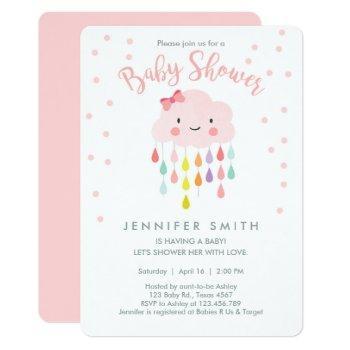 Cloud Raindrops Pink Girl Baby Shower Invitation