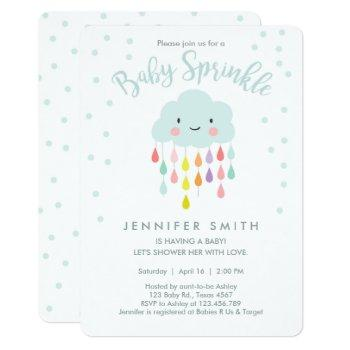 Cloud Raindrops Rainbow Neutral Baby Sprinkle Invitation