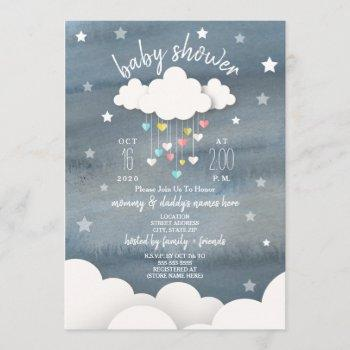 Clouds Hearts + Stars Neutral Baby Shower Invitation