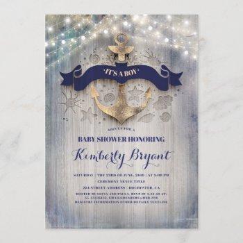 Coastal Nautical Golden Anchor Baby Shower Invitation