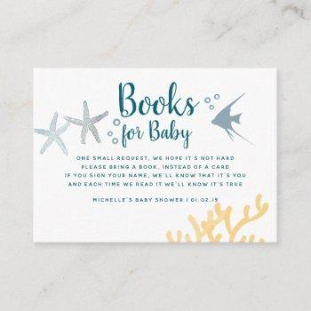 Color Trend Under The Sea Baby Shower Book Request Enclosure Card