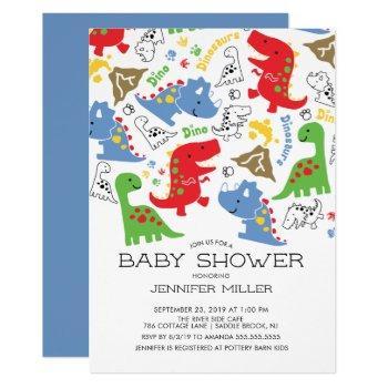 Colorful Boys Dinosaur Baby Shower Invitation