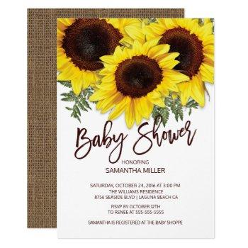 Colorful Fall Sunflowers Neutral Baby Shower Invitation