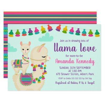 Colorful Llama Love Baby Shower Invitation