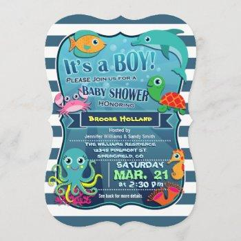Colorful Sea Life Boy Baby Shower Invitation