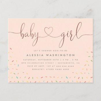 Colorful Sprinkle Rose Gold Girl Baby Shower Invitation Postcard