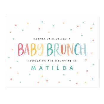 Colourful Rainbow Baby Brunch Invitation Postcard