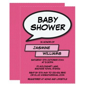 Comic Book Pop Art Baby Shower Pink Invitation