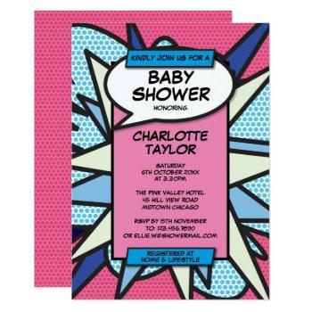 Comic Book Pop Art Baby Shower Sprinkle Invitation