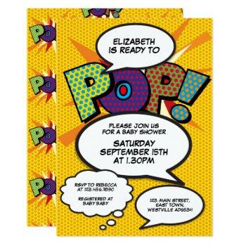 Comic Book Pop Art Ready To Pop Baby Shower Invite
