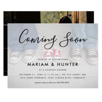 Coming Soon Couples Baby Shower Photo Invitation