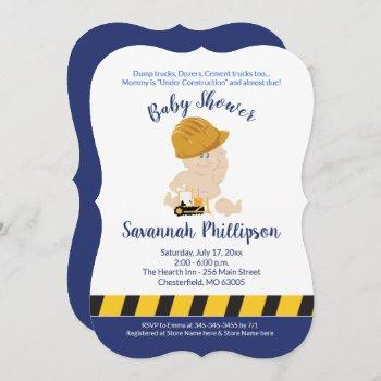 Construction Baby Boy Baby Shower Invitation