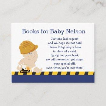 Construction Baby Customized Book Request Cards