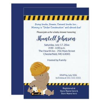 Construction Baby Dark Skin Baby Shower Invitation