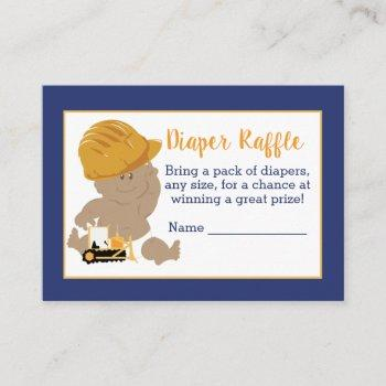 Construction Baby Shower Diaper Raffle Cards