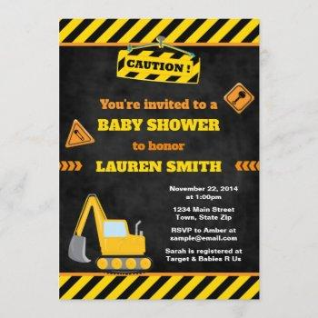 Construction Baby Shower Invitation Baby Boy