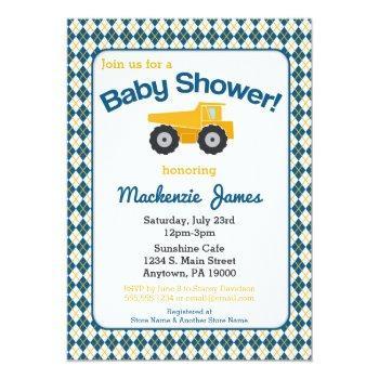 Construction Baby Shower Invitation Boy Truck
