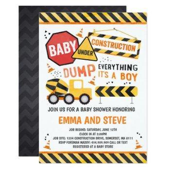 Construction Baby Shower Invitation Truck Shower