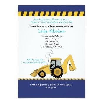 Construction Backhoe Baby Shower Invitation