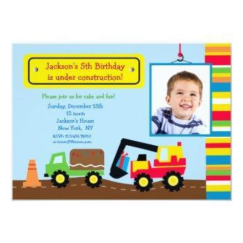 Construction Photo Birthday Party Invitation