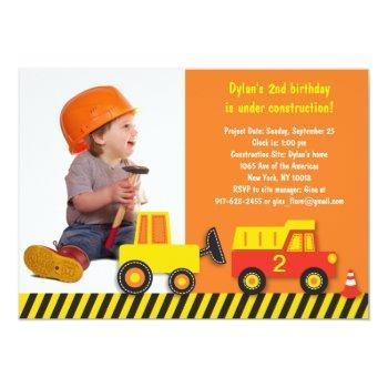Construction Truck Boys Photo Birthday Invitation