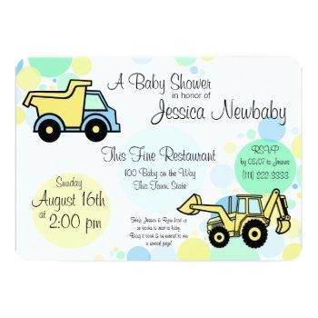 Construction Trucks Baby Shower Invitation