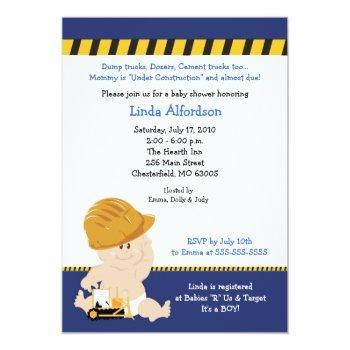 Construction Worker Baby Shower Invitation 5x7