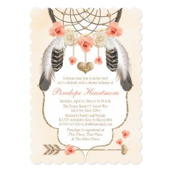 Coral And Gold Dreamcatcher Boho Baby Girl Shower Invitation