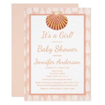Coral Seashell Baby Shower Invitation