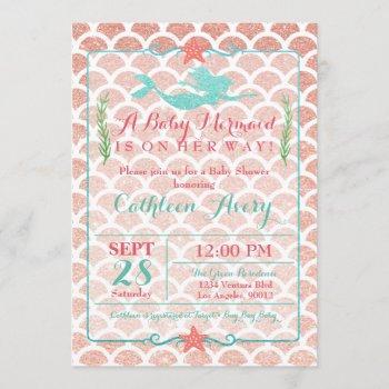 Coral & Teal Mermaid Baby Shower Invitation