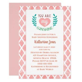 Coral You Are My Sunshine Baby Shower Invitation